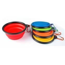 Skládací silikonová miska pro zvířata - červená 2GS - 1