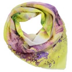 Velký šátek - žluto-fialový s potiskem BI - 2