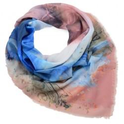 Velký šátek - hnědo-modrý s potiskem BI - 2