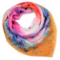 Velký šátek - oranžovo-modrý s potiskem BI - 2
