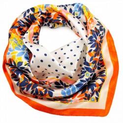 Šátek saténový - bílo-oranžový s potiskem BI - 2
