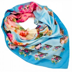 Velký šátek - modro-růžový s potiskem BI - 2