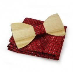 Dřevěný motýlek s kapesníčkem 709009
