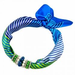Šátek s bižuterií Letuška - modrozelený BI - 2