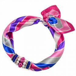 Šátek s bižuterií Letuška - růžovomodrý BI - 2