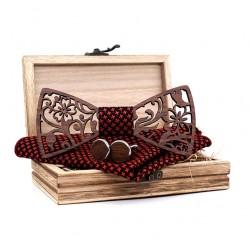 Dřevěný motýlek s kapesníčkem a manžetovými knoflíčky 709091